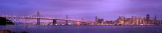 SF panorama #PardhivKarri - This is a panorama stitched using 5 shots taken during the blue hour from Treasure Island. The sky with clouds still has that pinkish blue color and the holiday lighting along with the city lights were on made the city look so vibrant
