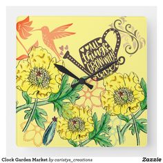 Shop Clock Garden Market created by caristys_creations. Clock Flower, Funky Decor, Senior Activities, Make Your Own Puzzle, Garden Accessories, Bohemian Decor, Customized Gifts, Granny Flat, Paper Products