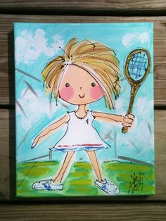 Tennis Girl Original Painting Ready To Ship by YelliKelli on Etsy, $25.00