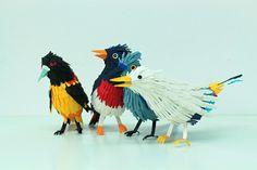 Sculptures of (ungry!) birds from paper:  (by Diana Beltran Herrera)