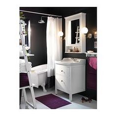 Small bathroom storage HEMNES/RÄTTVIKEN Sink cabinet with 2 drawers IKEA You can easily change the size of the box by moving the divider. Ikea Bathroom, Upstairs Bathrooms, Bathroom Furniture, Small Bathroom, White Bathroom, Ikea 2015, Wash Stand, Mirror Cabinets, My New Room