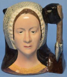 "Miniature Royal Doulton Character Jug ""Anne Boleyn"" Toby Mug D6651"