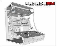 """Vue 3D technique du kit bois/plexi pour la borne d'arcade bartop 2 joueurs écran 4/3 jusqu'à 17"""" arcademy"""