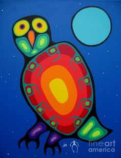 Owl Painting - Night Owl by Jim Oskineegish Inuit Kunst, Inuit Art, Woodland Art, Whimsical Art, Owl Art, Bird Art, Native Art, Native American Art, Kunst Der Aborigines