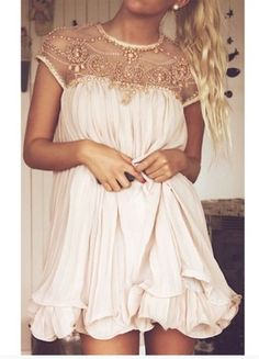 Beads Embellished Pleated Dolly Dress in Nude Pink - so my style! Robe Swing, Swing Dress, Pretty Dresses, Beautiful Dresses, Gorgeous Dress, Pink Dresses, Flowy Dresses, Gorgeous Gorgeous, Fitted Dresses