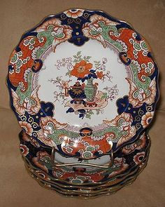 """Circa 1834-1854 SET of 6 WILLIAM RIDGWAY & CO. IRONSTONE CHINA PLATES 9"""" dia. in PATTERN 267. Reference Geoffrey Godden's book MASON'S CHINA AND THE IRONSTONE WARES pg. 274 plt. 336 and plt. 337."""