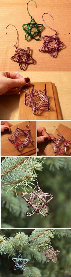 Handmade Star Wire Ornament - Alyssa and Carla (Beauty Art Christmas Gifts) Noel Christmas, Diy Christmas Ornaments, Homemade Christmas, Christmas Projects, Winter Christmas, Holiday Crafts, Christmas Decorations, Christmas Ideas, Hanging Decorations
