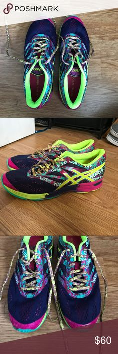 Asics gel noosa tri 10 sneakers Worn once. Sat in back of closet. Pink, purple, lime and blue colors. Comes with pink set of laces. Asics Shoes Sneakers