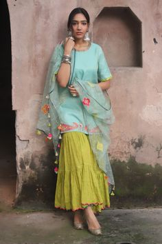 Buy Handwoven Chanderi Kurta Gharara Set by Rajiramniq at Aza Fashions Stylish Dresses For Girls, Stylish Dress Designs, Designs For Dresses, Dress Indian Style, Indian Dresses, Indian Outfits, Ethnic Outfits, Sharara Designs, Kurti Designs Party Wear
