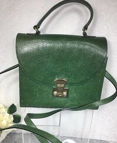 Furla VTG  Italian Leather Green Satchel Purse/Shoulder Bag Women Long Strap  | eBay