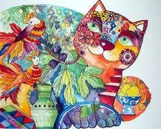 Chat et figues (Картина), cm - Oxana Zaika de chine,papier Galerie D'art Photo, La Art Galleries, Fine Art Amerika, Photo Art Gallery, Art Fantaisiste, Museum Art Gallery, Cat Dog, Art Original, Cat Colors