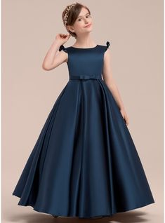 JJsHouse Ball Gown Floor-length Flower Girl Dress - Satin Sleeveless Scoop Neck With Bow(s) Baby Girl Party Dresses, New Party Dress, Dresses Kids Girl, Dresses For Teens, Formal Dresses, Wedding Dresses, Frocks For Girls, Gowns For Girls, Flower Girl Gown