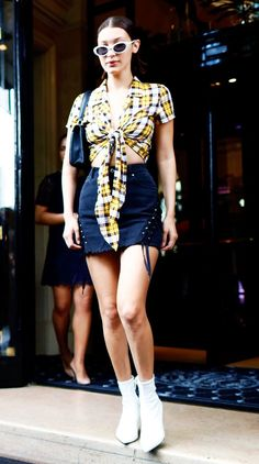 When Bella Hadid Wears A £34 Topshop Skirt, You Know It's Going to Sell Out via @WhoWhatWearUK