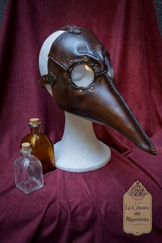 Leather Plague Doctor mask. Steampunk masquerade costume. One-of-a-kind handmade dark mask. Ready to ship item.
