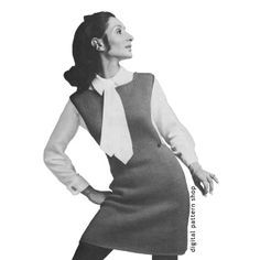 1960s Vintage Jumper Knitting Pattern: Show off your new wide- sleeved shirts with this beautifully simple jumper. Skirt flares slightly, widens out towards the shoulders. Front and back are identical. Edges are trimmed with single crochet.