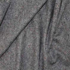 Soft Herringbone Wool Tweed – Black/Gray/Reds