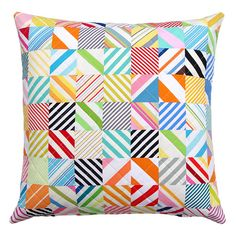 Red Pepper Quilts: Vintage Stripes ~ Quilted Pillow Cover - I could make something like this... something more wobbly...something not square...