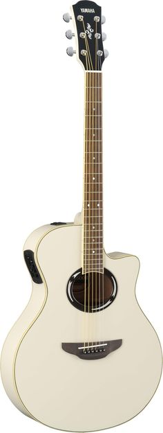 White Yamaha guitar
