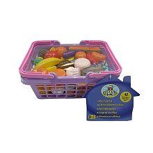 Just Like Home - 41 Piece Play Food Set - Purple Basket