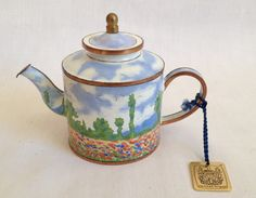 Claude Monet's Poppy Field in Giverny 2 depicted on a miniature enamel teapot by Charlotte di Vita