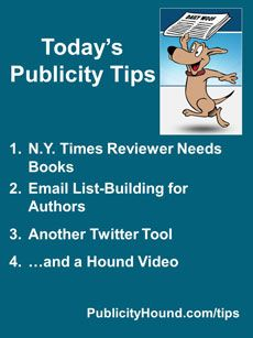 Publicity Tips–N.Y. Times Reviewer Needs Books: In the Feb. 20 issue, NY Times #bookreviewer Charmaine Carraway, a life coach and motivational speaker who also writes for Huffington Post, is looking for books to review. Register for #HowtoUseEmail to Attract Fans, Create Superfans & Sell More Books a #freewebinar . Here's another cool #Twittertool , #crowdfire . #publicitytips