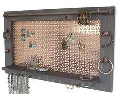 Earring Holder and Jewelry Organizer – Wooden Wall Hanging Jewelry Shelf - Jewelry Image Wall Mount Jewelry Organizer, Diy Jewelry Holder, Diy Necklace And Earring Holder, Earing Organizer, Jewelry Stand, Jewelry Box, Pendant Necklace, Jewellery Storage, Jewellery Display