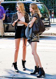 Maryna Linchuk & Vlada Roslyakova (in) Model's Street Style