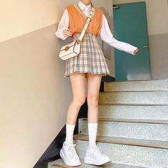 Korean Girl Fashion, Ulzzang Fashion, Korean Street Fashion, Korean Fashion Styles, Korean Fashion School, Korean Fashion Pastel, Korean Fashion Winter, Kpop Fashion Outfits, Mode Outfits