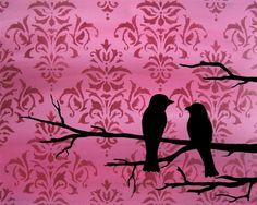 Love Birds Print valentine romantic Pink Damask by loriamckee