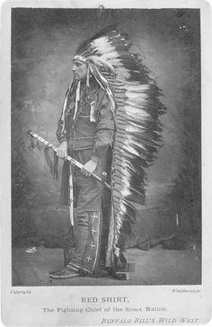 """Portrait Of Red Shirt Wearing Shirt And Vest And Medallion Around Neck. Type Written Note Below Photograph Reads, """"Red Shirt, The Fighting Chief Of The Sioux Nation. Buffalo Bill's Wild West."""" Date: Ca. 1887"""