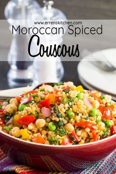 Want to learn to cook amazing couscous? This easy recipe for Moroccan Spiced Vegetable Couscous is perfect for a healthy side or vegetarian vegan dinner. Vegetarian Side Dishes, Healthy Dishes, Vegetarian Recipes, Cooking Recipes, Healthy Recipes, Vegetarian Times, Veggie Dishes, Delicious Recipes, Healthy Food