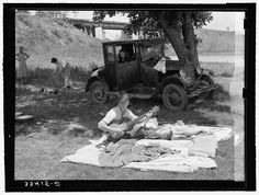 Camp of migrant workers near Prague, OK, 1939. Library of Congress FSA/OWI photograph collection.