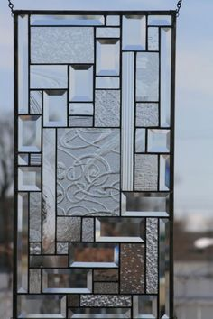 Study In Clears Stained Glass Window Panel   hkephart - Glass on ArtFire