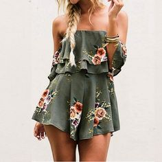 4d941032280 Summer Strapless Bohemian Playsuit Sexy Off Shoulder Floral Print Rompers  Ruffles Women Beach Vacation Jumpsuits Female