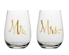 Perfect for the Mr. and Mrs.! This matching stemless wine glass set are great for toasting during the reception.
