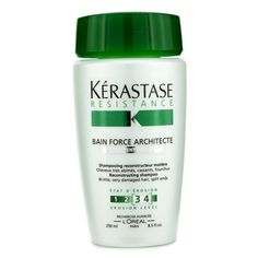 "Kerastase Resistance Bain Force Architecte Shampoo (For Brittle, very Damaged Hair, Split Ends)  250ml/8.5oz. Such a wawer sham... (I really don't care if there's ""poo"" in it, anyway)!"