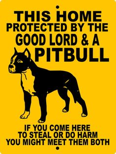 This home is protected by the Good Lord and a Pitbull. If you come here to steal or do harm you might meet them both. Dog Quotes, Animal Quotes, Pitt Bulls, Aggressive Dog, Pit Bull Love, Doberman Pinscher, Doberman Dogs, Dobermans, Dogs
