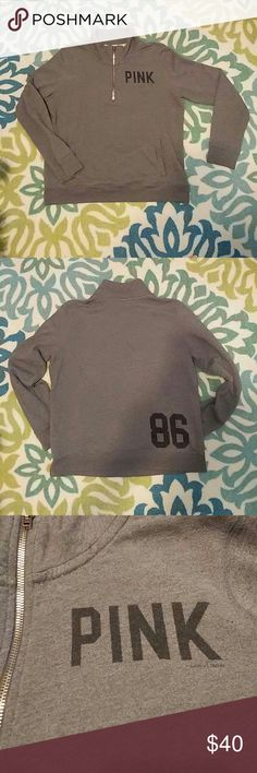 "Victoria's Secret Gray Half Zip Sweatshirt Large A Victoria's Secret PINK staple, this gray sweatshirt is perfect year-round! Featuring ""PINK"" on the front and ""86"" on the back, this sweatshirt is simple yet stylish! Convenient kangaroo pocket in front. Pre-loved, in excellent used condition. Size Large. PINK Victoria's Secret Tops Sweatshirts & Hoodies"