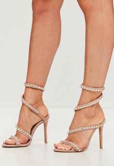 5e39554a572c Carli Bybel x Missguided Nude Jewel Wrap Around Heeled Sandals Stiletto  Heels
