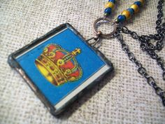 The Crown Loteria Glass Necklace by NenasArtandDesigns on Etsy, $15.00