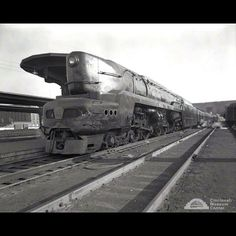 One of the Pennsylvania Railroad's experimental T1 steam locomotives passed through Union Terminal at least twice. Tested from 1946 to 1952, the 50 locomotives built proved difficult to operate effectively, despite their ability to run at speeds of 100 mph or more. Photo credit: Cincinnati Museum Center Photograph Collections