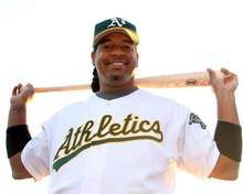 Manny Ramirez of the Oakland Athletics poses for a portrait during spring training photo day. - http://www.fansedge.com/Manny-Ramirez-Oakland-Athletics-2272012-_-914833474_PD.html?social=pinterest_mlb_32212_manny  #MLB  #Athletics