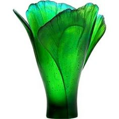 """Large green DAUM Ginkgo Vase - Handcrafted glass art - Signed """"Daum France"""" - Limited edition, Hand-numbered - Height: 11 - Made in France - Model 3409 Art Nouveau, Art Of Glass, Glass Vase, Cristal Art, Glas Art, Glass Ceramic, Ceramic Decor, Shades Of Green, Colored Glass"""