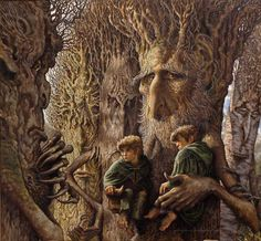 Stephen Hickman, artist depiction of the Hobbits with the Ents