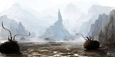 Forein Shore by jjpeabody on deviantART - The nine towers. Centered in an alien landscape.