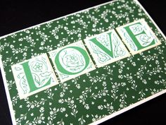 Wedding card, papercraft, square punch, green, white, flowers
