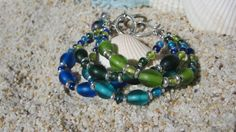 Boho Blue and Green Glass Bracelet by BeadDazzlers on Etsy, $26.00