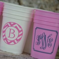 Monogram Cups - These would be cute for dorms, parties or anytime.  Reusable and dishwasher safe.