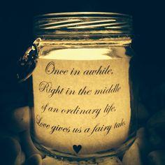 Wedding mason jars with love quotes for flameless tea lights. Made and photo by Shine Bright Mason Jars visit www.facebook.com/shinebrightmasonjars  #masonjars #diywedding