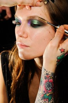 Pat McGrath for Roberto Cavalli.  Insect inspired palette. love these kinds of iridescent eye looks